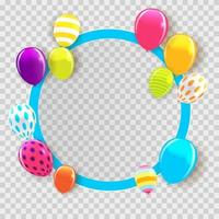 Circle Balloon Frame Happy Birthday Background Card Template vector