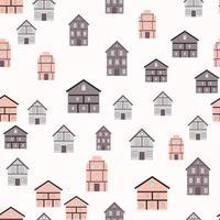Little Town Seamless Pattern Background. Vector Illustration