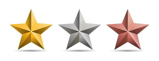 Gold silver bronze 3D  metal stars isolated on white background. vector