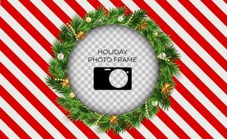Holiday Photo Frame Template. Merry Christmas and Happy New Year vector
