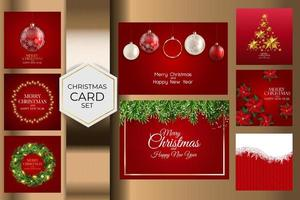 Holiday New Year and Merry Christmas Background Collection Set. vector