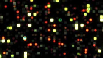 Flashing Green red yellow Pixel mosaic LED Lights on black background. video