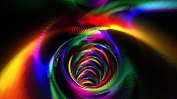 maglia arcobaleno che vola nella grotta del tunnel neon maglia futuristica video
