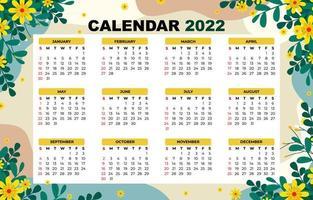 Calendar 2022 Floral Background Theme vector