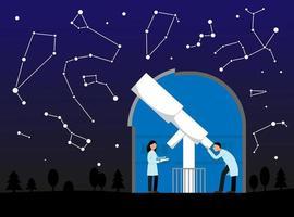 ilustración vectorial con observatorio, cielo nocturno y constelaciones. telescopio en observatorio. astronomía. los científicos los astrónomos observan las estrellas. vector