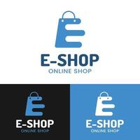 Letter Initial E Shopping Bag for Online Shop Logo Design Template vector