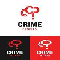 Letra cp inicial para el problema del crimen en la plantilla de diseño de logotipo de color rojo vector