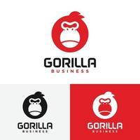 Simple Black Gorilla Head in Circle Shape Logo Design Template vector