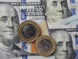 Exchange value of american dollar money and sterling pound currency photo