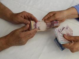 Photography for economics and finance themes with brazilian money photo
