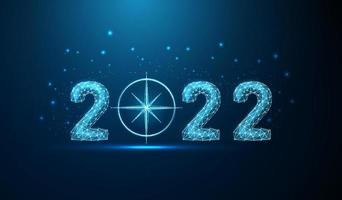 Abstract Happy 2022 New Year greeting card with compass vector