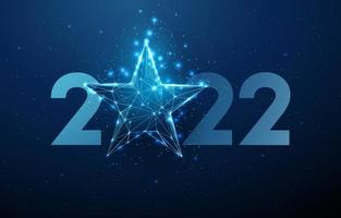 Abstract Happy 2022 New Year greeting card with blue star vector