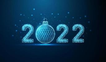 Abstract Happy 2022 New Year greeting card with Christmas ball. vector