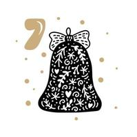 Advent calendar with cute scandinavian hand drawn vector. Twenty-four days before Christmas ethno. Seventh Day. Winter Illustration of Bell vector