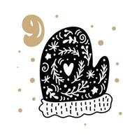 Advent calendar with cute scandinavian hand drawn vector. Twenty-four days before ethno Christmas. Ninth Day. Winter Illustration of nordic Mitten vector
