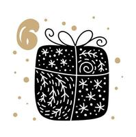 Advent calendar with cute scandinavian hand drawn vector. Twenty-four days before Christmas. Sixth Day. Winter Illustration of Gift vector