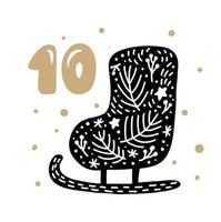 Advent calendar with cute scandinavian hand drawn vector. Twenty-four days before ethno Christmas. Tenth Day. Winter Illustration of nordic Skate vector