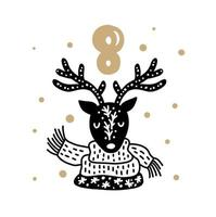 Advent calendar with cute scandinavian hand drawn vector. Twenty-four days before Christmas. Eighth Day. Winter Illustration of nordic Deer vector