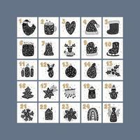 Merry Christmas vector advent scandinavian calendar with hand drawn winter design elements bird, mug, heart, hat, boot, gift bell, deer, candles, ball, star, snowman, house, snowflake, rainbow, angel