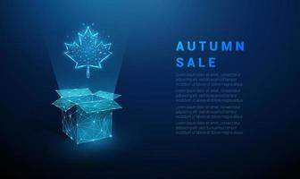 Abstract open box and maple leaf. Autumn sale template vector