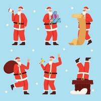 Set of Santa Claus Characters in Different Activities vector