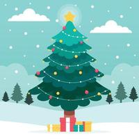 Winter Landscape with Christmas Tree and Gift Boxes vector