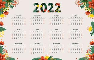Calendar 2022 Template with Floral Theme vector
