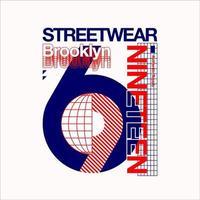 streetwear brooklyn 1969 vintage tshirt vector