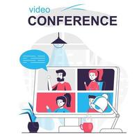 Video conference isolated cartoon concept. vector
