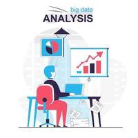 Big data analysis isolated cartoon concept. vector