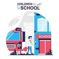 los niños van al concepto de dibujos animados aislados de la escuela. vector