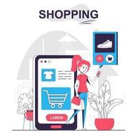Shopping isolated cartoon concept. vector