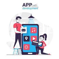 App development isolated cartoon concept. vector