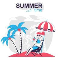 Summertime activity isolated cartoon concept. vector