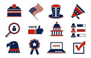 colección de iconos de elecciones generales de EE. UU. vector