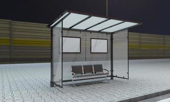 Bus Stop Bus Shelter Mockup 3D Illustration photo