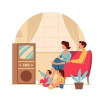 Family Gathering in Living Room vector