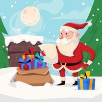 Santa Ready to Giving Gifts vector