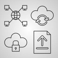 Outline Cloud Computing Icons isolated on White Background vector