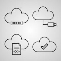 Collection of Cloud Computing Symbols in Outline Style vector