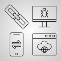 Cloud Computing Line Icons Set Isolated On White Outline Symbols Cloud Computing vector