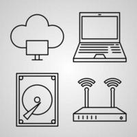 Cloud Computing Line Icon Set Collection of Vector Symbol in Trendy Outline Style