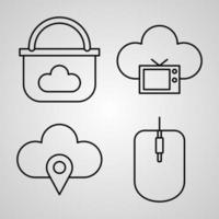 Cloud Computing Symbol Collection On White background Cloud Computing Outline Icons vector