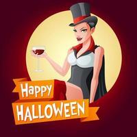 Happy Halloween vector card with woman in vampire costume