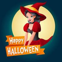 Happy Halloween vector card with woman in witch costume