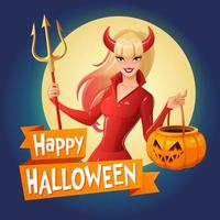 Happy Halloween card with woman in devil costume vector illustration
