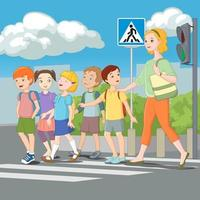 Kids crossing road with teacher vector illustration