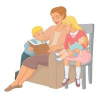 Mother reading book to children vector illustration
