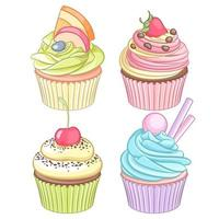 Vector set of colorful cupcakes on white background