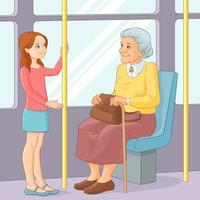 Girl offering seat to old lady in public transport vector illustration